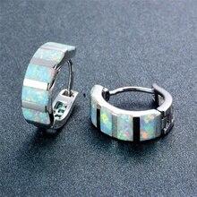 Luxurious Silver Filled White/Blue Fire Opal Hoop Earrings for Women Fashion Jewelry Wedding Opals