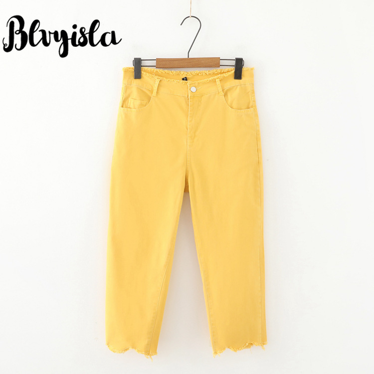 Blvyisla Special 5XL Oversize Candy Color Jeans Sexy Slim Overweight Female Calf-Length Pants Elastic Streetwear Trousers