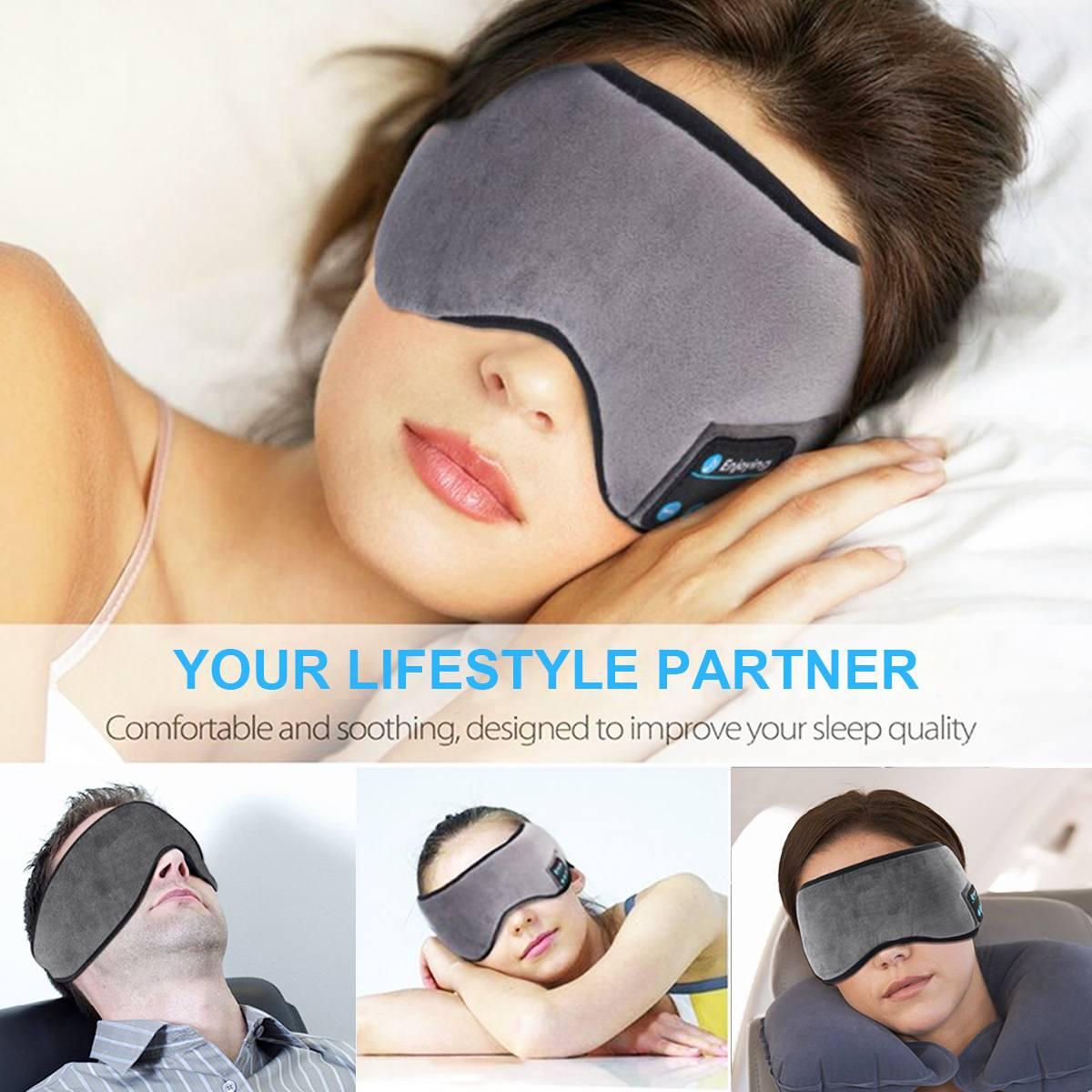 Sleep Headphone Bluetooth Sleep Mask Wireless Sleep Eye Mask Earphone Travel Eye Shades with Built-in Speakers Mic Handsfree mic Pakistan
