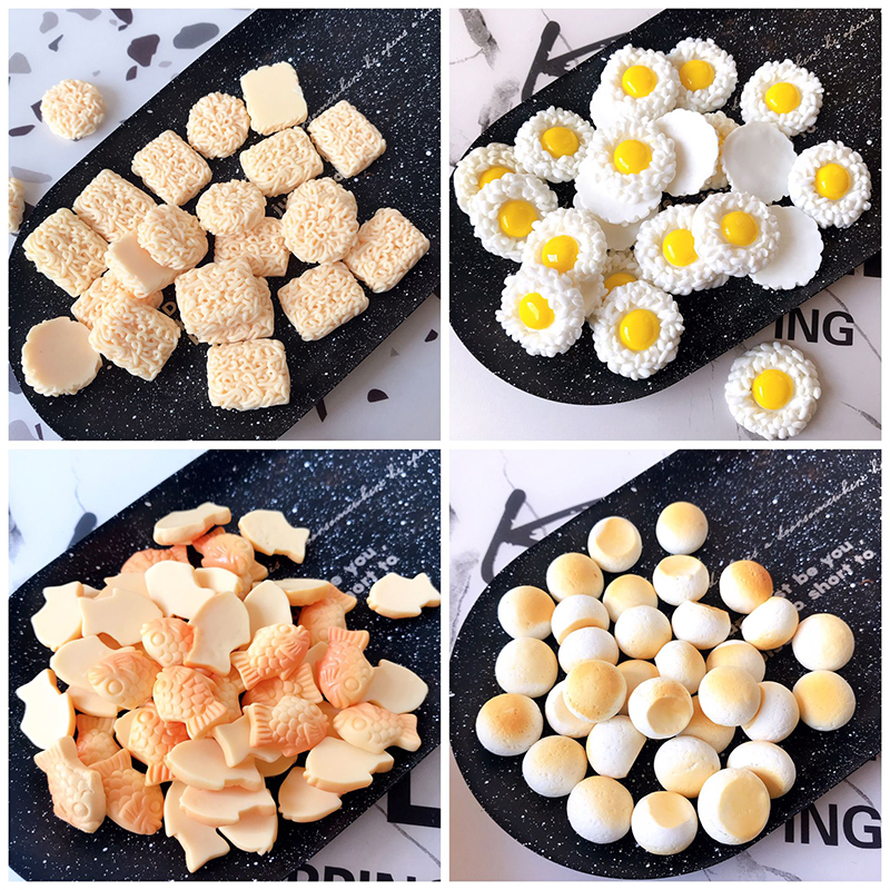 Boxi 10pcs Slime Additives Charms Resin Fish Ramen Egg Cute DIY Kit Accessories Filler For Fluffy Cloud Clear Slime Clay