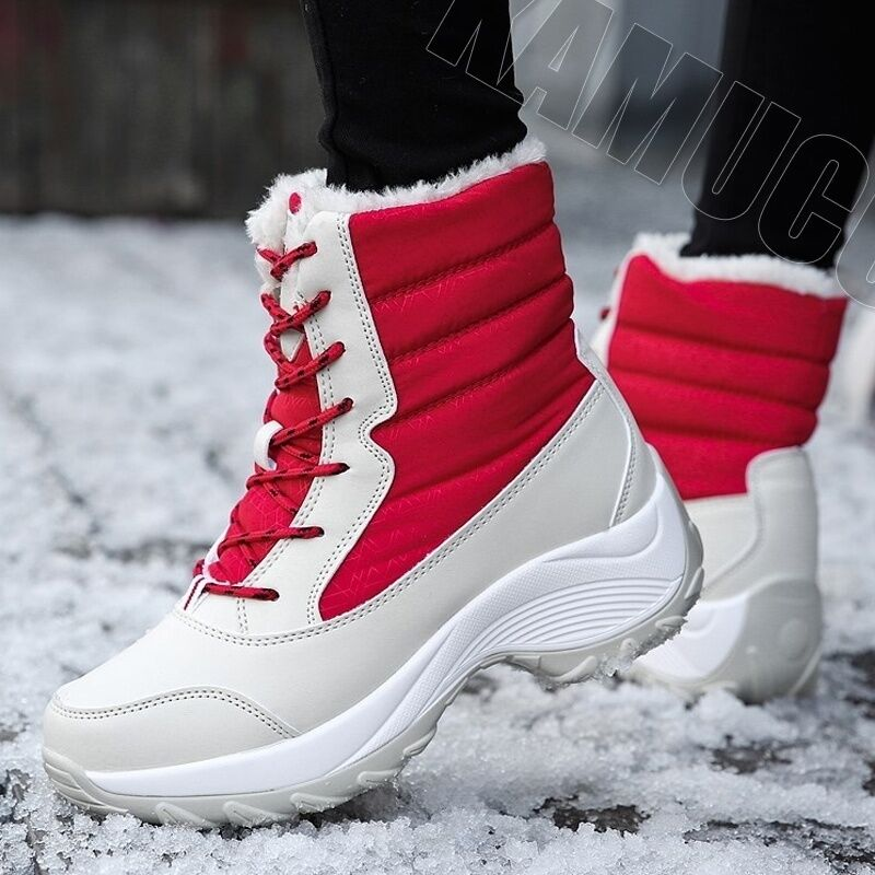 2019 Women Snow boots Waterproof Non-slip Parent-Child Winter Boots Thick Fur Platform Waterproof and Warm Shoes Plus Size 31-42 47