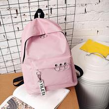 Four colors Women's Fashion Ring Decoration Shoulder Bookbags Satchel Travel Backpack School Bag drop shipping Preppy style