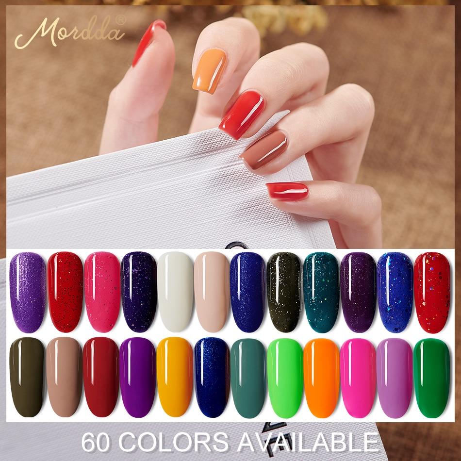 MORDDA 5 ML Nail Gel Polish For Manicure UV LED 60 Colors Nail Varnish Hybrid Semi Permanent Gel Lacquer Nail Art Design Tools(China)