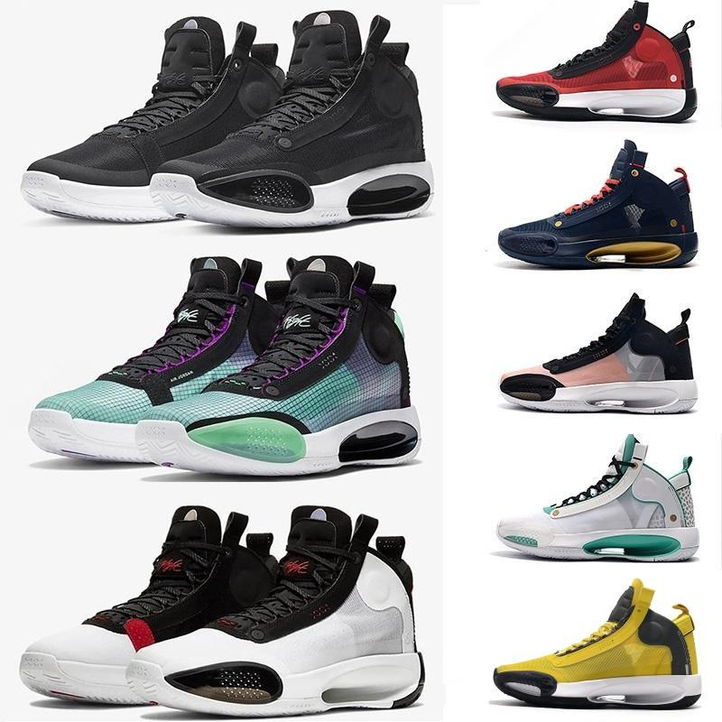Jumpmans XXXIV 34 Blue Void Basketball Shoes 34s Zoom Eclipse Bred Amber Rise PE Green Glow Metallic Silver Men Sport Sneaker