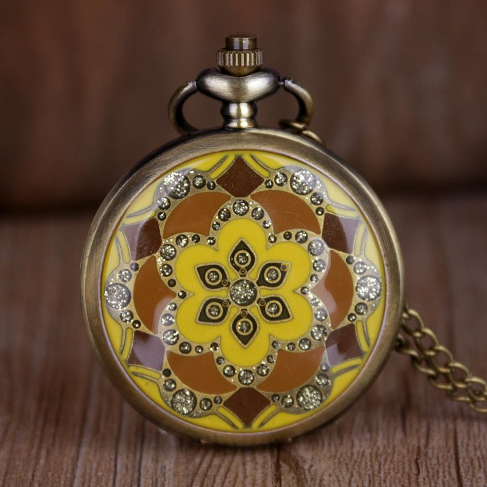 Vintage Bronze Copper Gold Flower Crystal Quartz Pocket Watch Women Necklace Pendant Chain Birthday Gifts Lovely Clock