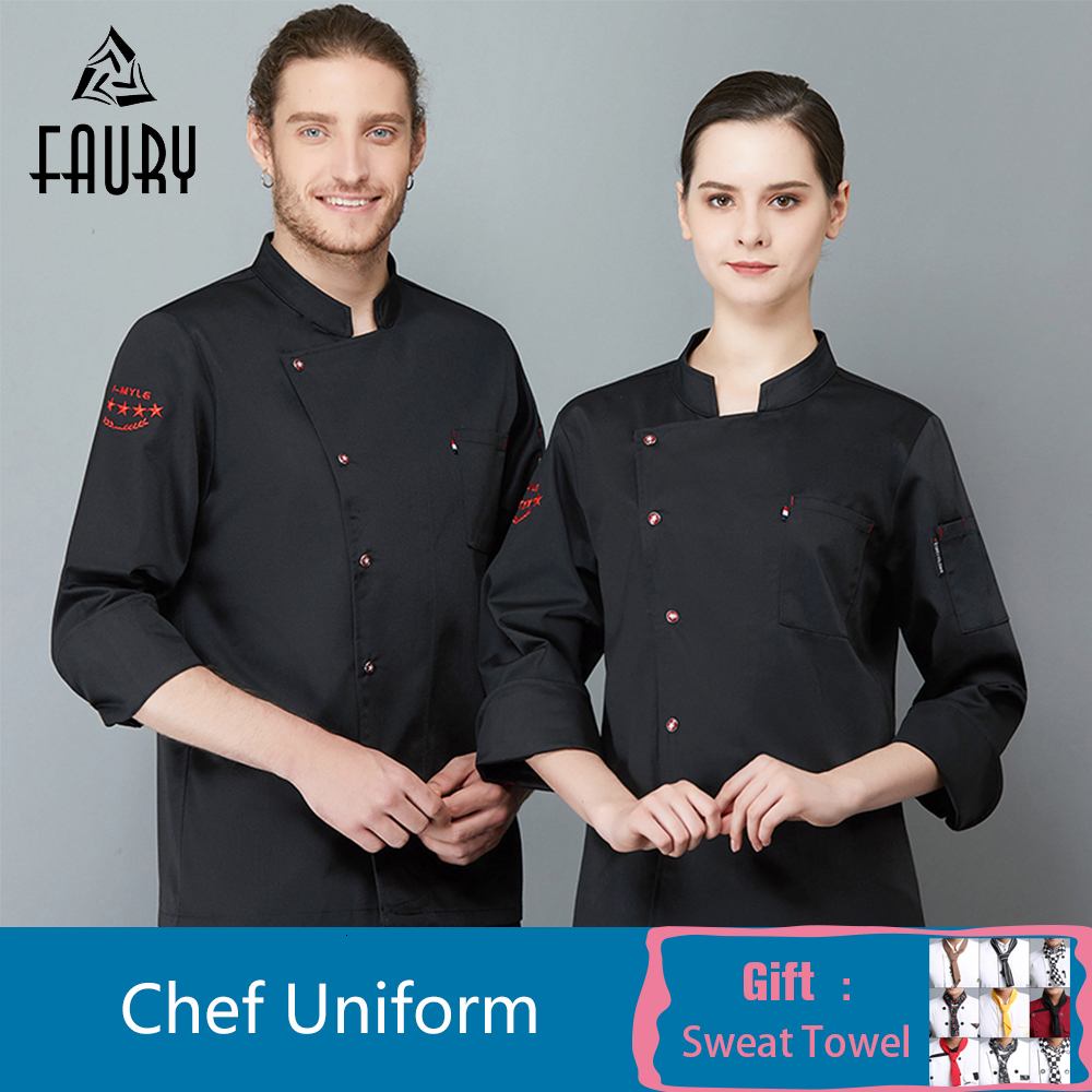 Professional Head Chef Uniform Restaurant Hotel Kitchen Chef Jacket Cook Coat Waiter Uniform Cocina Baker Barber Workwear