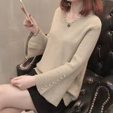Autumn Sweater Women Beaded Loose V-neck Sweater Female Pullover Sweaters Plus Size Women Clothing цена в Москве и Питере