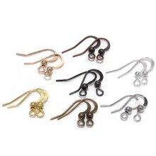 100 шт 19*18 мм компоненты для сережек, крючки, Скручивающиеся серебряные, золотые, бронзовые Крючки для ушей, застежки, провода для сережек, фурнитура для изготовления ювелирных изделий своими руками