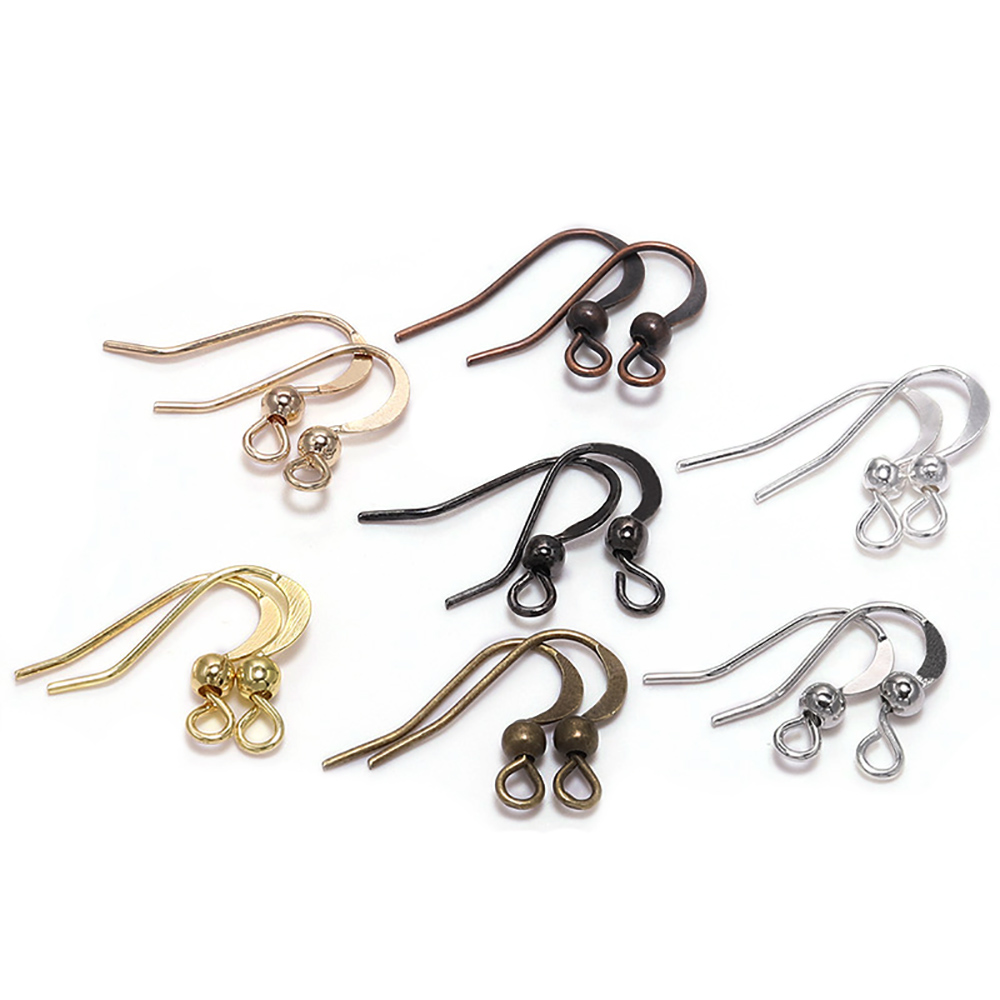 100Pcs 19*18mm Earring Components Hooks Twist Silver Gold Bronze Ear Hook Clasps Earring Wires Findings For DIY Jewelry Making