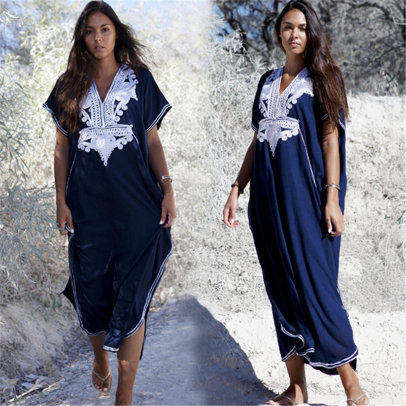 Europe And America New Style Dark Blue Cotton White Embroidered Loose And Plus-sized Beach Skirt Holiday Long Skirts Robes Bikin