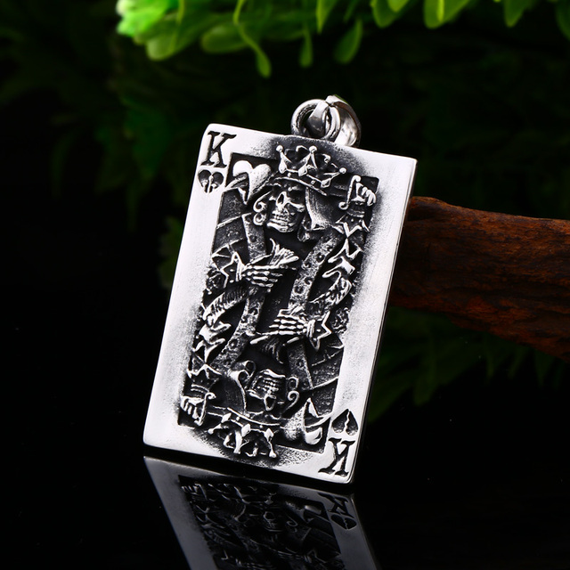 STAINLESS STEEL POKER SKULL NECKLACE