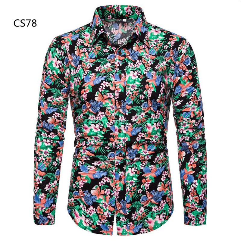 2019 Autumn New <font><b>Men's</b></font> Floral <font><b>Linen</b></font> <font><b>Shirt</b></font> Chinese <font><b>Vintage</b></font> Flower Printed Long Sleeve <font><b>Shirt</b></font> Male Slim Fit Print Cotton <font><b>Linen</b></font> <font><b>Shirt</b></font> image
