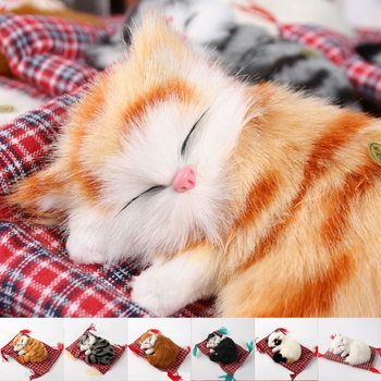 Car Ornaments Cute Simulation Sleeping Cat Home Car Decoration Stuffed Toys Lovely Simulation Plush Sleeping Cat Toy Decorations image