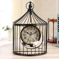 Bird Cage Table Clock Ornaments Iron Decorative Retro White Black Desk Clock Living Room Bedroom Creative Clock Europe Classic