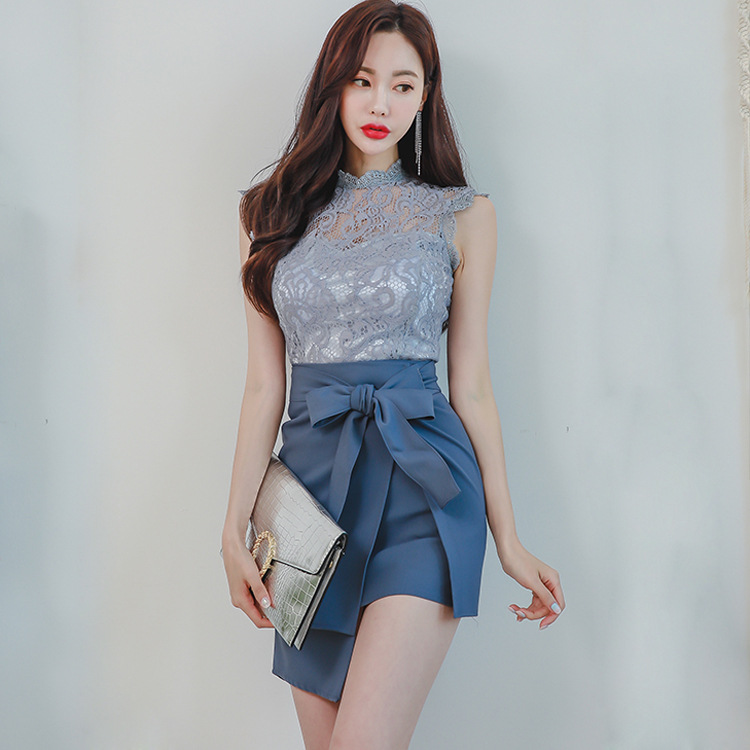 2019 New Style Korean-style Ol Elegant Lace Hollow Out Tops + Lace-up Waist Hugging Sheath Skirt WOMEN'S Suit