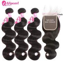 AliPearl saç vücut dalga demetleri 5x5 şeffaf dantel kapatma brezilyalı saç örgü demetleri ile kapatma Remy saç uzatma