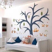 Funlife Cartoon Cute Fox Wall Sticker Animal Fairy Tales Wall Decal For Kids Bedroom Baby Nursery Room DIY Wall Art Mural Decor