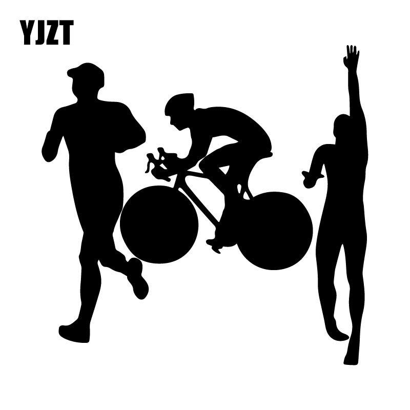 YJZT 15.8CM*15.4CM Triathlon Run Bike Swim Endurance Ironman Car-Styling Vinyl Car Sticker Black/Silver C31-0482