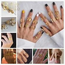 BOAKO Intial Letter Rings For Women/Men Punk Bands Rings Wide Gold Adjustable Finger Ring Hip Hop Statement Girl anillos Z5 цены
