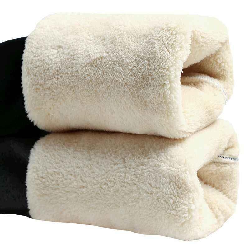 שחור חם מכנסיים חורף סקיני עבה קטיפה מזדמן צמר מכנסיים צמר מעוור טלה קשמיר מכנסיים לנשים חותלות