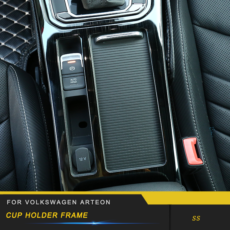 For VW Volkswagen Arteon 2019 Car Styling Cup Holder Gear Panel Chrome Cover Trim Frame Sticker Interior Accessories|Automotive Interior Stickers| |  - title=