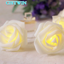 PE Rose Flowers Small Night Lights Bedroom Lantern Wedding Decoration Lamps Birthday Party Battery Light String Fixtures
