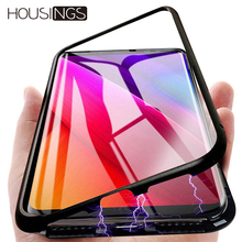 Tempered Glass Magnetic Adsorption Metal Phone Case For