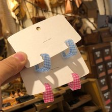 Mengjiqiao 2020 Fashion Candy Kleur Acryl Grid Oorringen Voor Vrouwen Meisjes Bijoux Geometrische Cirkel Pendientes Sieraden Geschenken