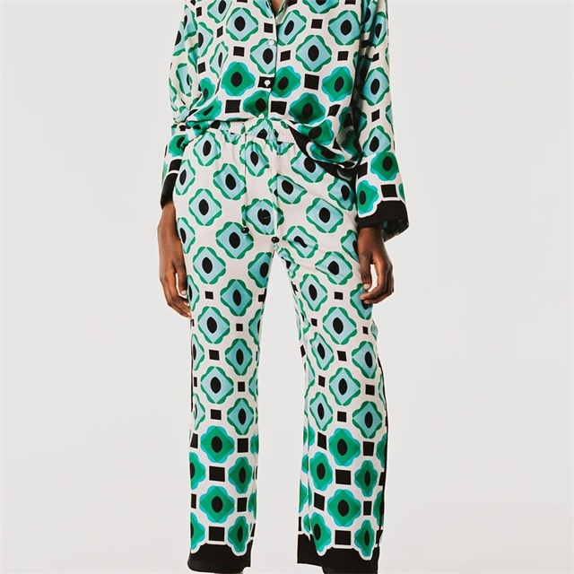 TRAF Women 2021 Fashion Geometric Graphic Print Trousers Retro High-Waist Drawstring Side Pockets Women's Trousers Streetwear 1