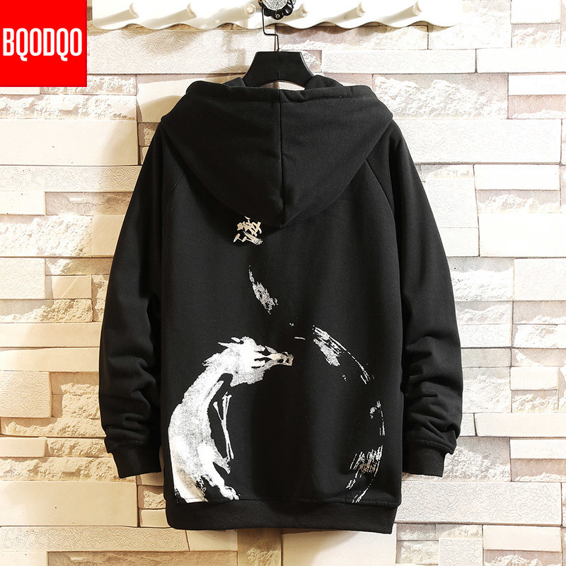 Dragon Print Autumn Steetwear Sweatshirts Men White Hip Hop Fashion Hooded Hoodies Male O-neck Japanese Style Casual Pullover
