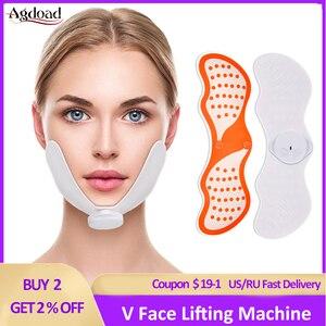 Image 1 - EMS 얼굴 리프팅 기계 전기 V 얼굴 슬리밍 마사지 얼굴 진동 마사지 장치 V 얼굴 교정기