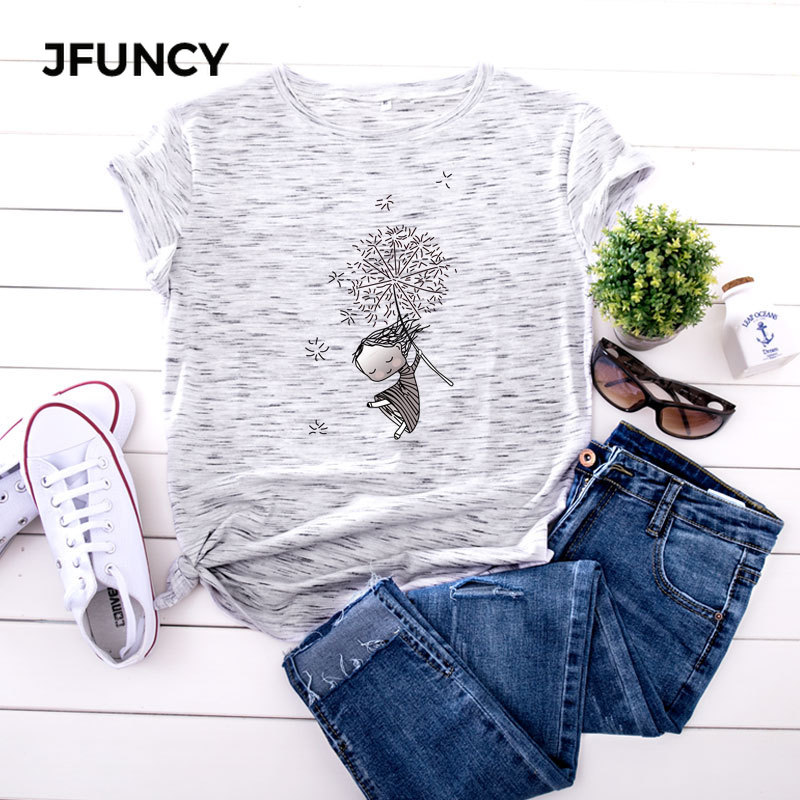 JFUNCY Plus Size 5XL Women T Shirts Fashion Print Short Sleeve Summer Cotton T-Shirt Female Tops Oversized Woman Casual Tshirt