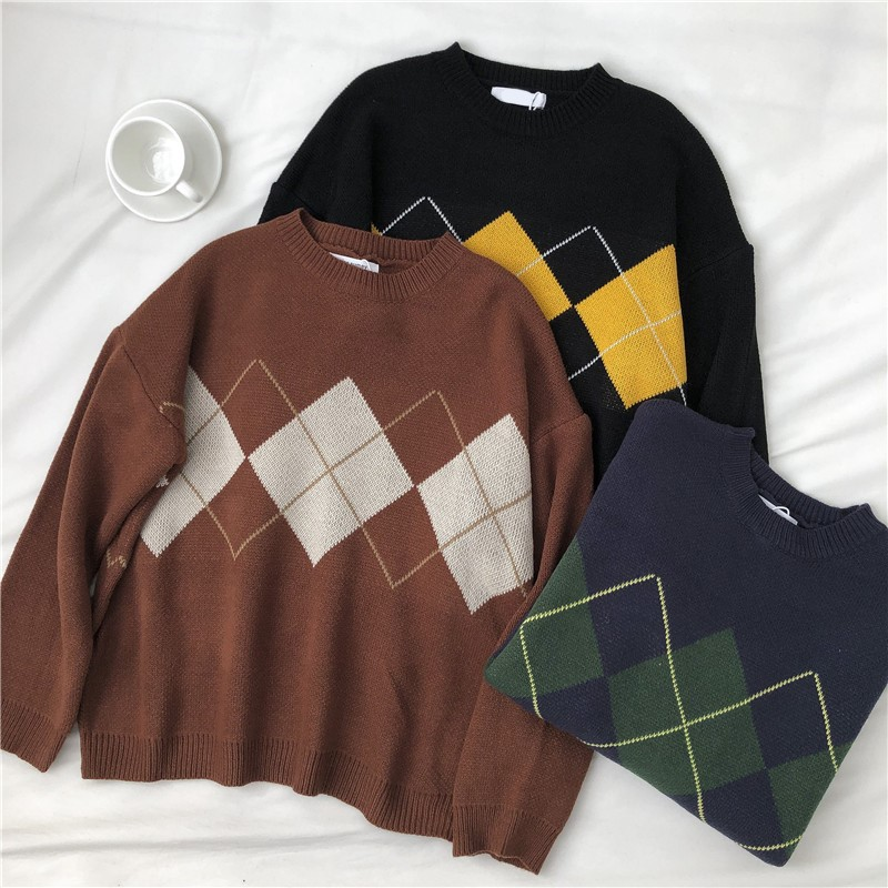 Knitted Sweater Women Argyle Oversize Sweaters Korean Pullovers Ladies Winter Loose Sweaters Female Casual Jumper Ropa De Mujer