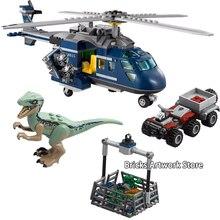 433PCS Fit 75928 Jurassic World Park 2 Fallen Kingdom Blues Helicopter Pursuit Velociraptor Set Building Blocks Toys kids Gifts