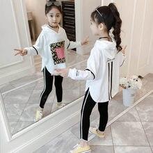 2020 yeni bahar kız giyim setleri rahat spor T Shirt Hoodie pantolon 2 adet/takım çocuk çocuk giyim takım elbise pamuk eşofman