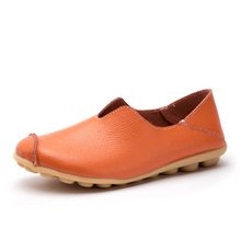 Women Summer Leather Ballet Flats Casual Leisure Flat Shoes Round Toe Doug for Ladies