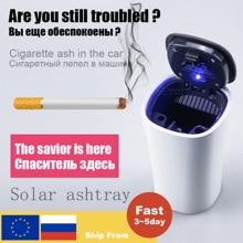 Car-Ashtray Led-Light Cigarette-Smoke-Cup Auto Blue Portable with Solar-Energy