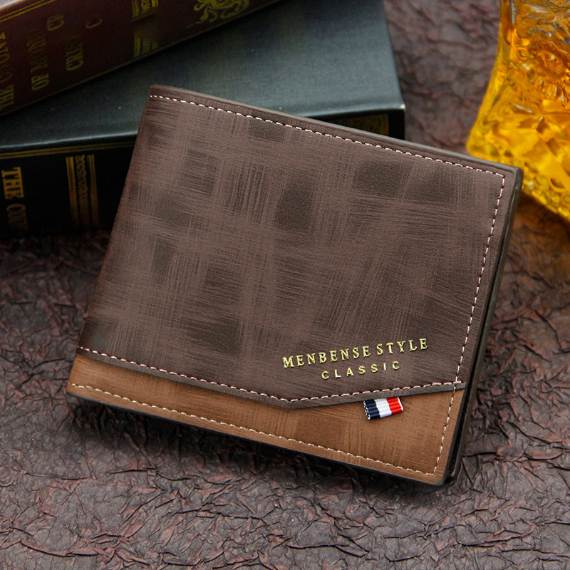 Cartera de cuero para hombre, monedero pequeño de Color sólido, estilo Vintage, con múltiples tarjetas