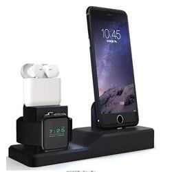 3 in 1 Opladen Dock Houder Voor Iphone X XS Iphone 8 Iphone 7 Iphone 6 Siliconen charger stand Dock station Apple horloge Airpods|Mobiele telefoon Accessoire bundels|   -