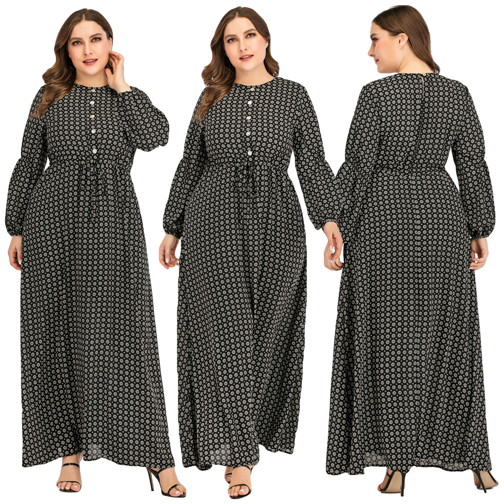 Muslim Women Abaya Print Long Sleeve Dress Drawstring Gown Arab Robes Islamic Clothing Fashion Maxi Cocktail Kaftan Plus Size