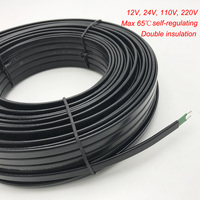 Cable de calefacción de 50m con protección anticongelante para techo, Cable calefactor eléctrico autorregulado de 12V, 24V, 110V y 240V