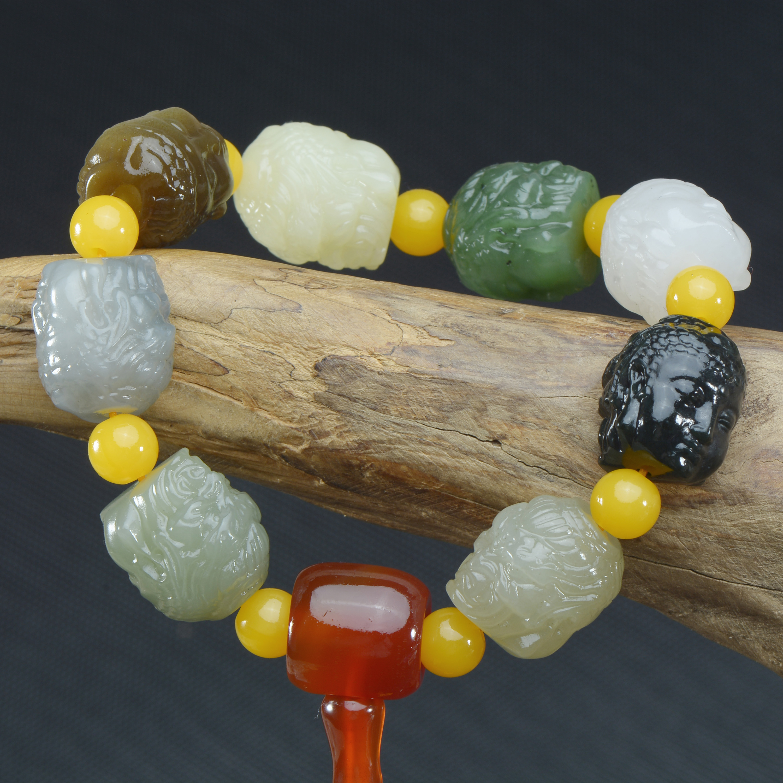 Genuine hetian jade bracelet hand-carved unique jadite jade beads bracelets for men women jade jewelry christmas bracelet