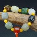 Pulseira de jade de hetian genuíno mão-esculpida único jadite jade contas pulseiras para homens feminino jade jóias pulseira de natal
