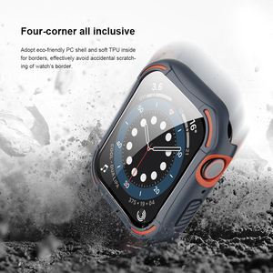 Image 4 - for Apple Watch Case 44mm 4/5/6/SE iWatch Cover Safety Glass Screen Protector + Shockproof Bumper For Apple Watch 40mm 4/5/6/S
