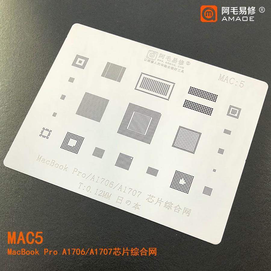 Amaoe BGA Reballing Stencil FOR MacBook Pro A1706/A1707 BGA Stencil Reballing IC Tin Plant Net Solder Amaoe Heat Template 1