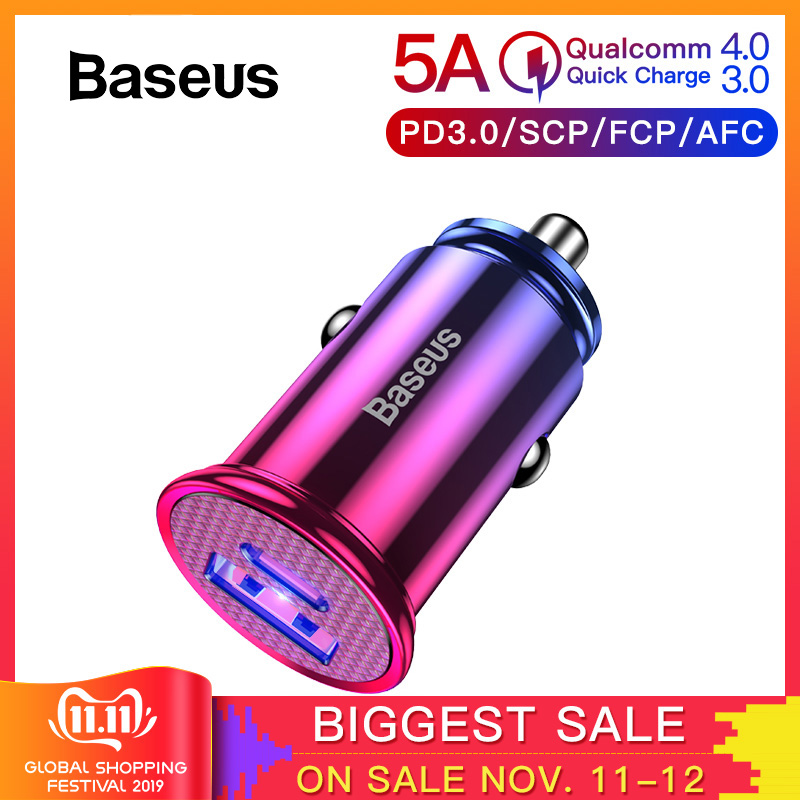 Baseus 30W Quick Charge 4.0 3.0 USB Car Charger For iPhone 11 Huawei Supercharge SCP QC4.0 QC3.0 Fast PD USB C Car Phone Charger-in Car Chargers from Cellphones & Telecommunications