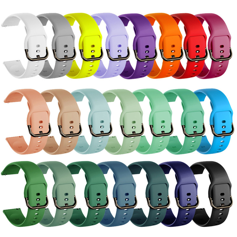 20mm 22mm Colorful Silicone Watchband Replacement Strap for Samsung Galaxy Watch Active Gear S2 S3 Huawei Amazfit Bip Bracelet