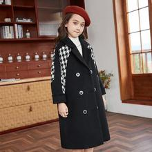 Winter Girls Long Coats Fashion Plaid Double Breasted Turn Down Collar Overcoats Kids Children Thick Outerwear Jackets Clothes
