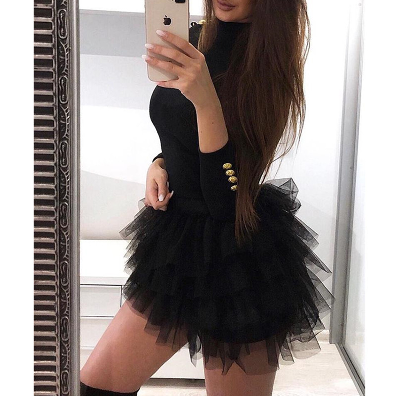 Women Long Sleeve Mesh Insert Black Dress Sexy Solid Mesh Organza Spliced Mini Dress Winter 2019 O-neck Mini Dresses