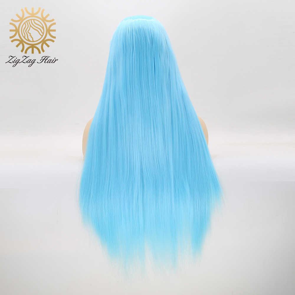 Zigzag Bagian Tengah Biru Muda Renda Sintetis Depan Wig untuk Wanita Alami Tanpa Glueless Tanpa Lurus Cosplay Wig Tahan Panas Serat Rambut